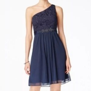 NWT Navy Lace One Shoulder Cocktail Midi Dress
